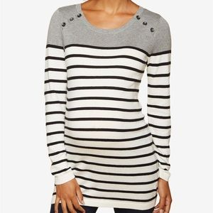 Motherhood Maternity Button Detail Tunic Sweater